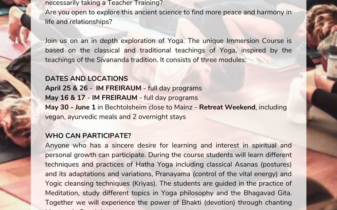 Sadhana – Deep Immersion into Yoga – Yoga Retreat